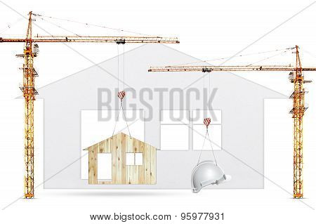 Construction Crane Lifting Home And Safety Helmet On White Background Use For Construction Industry