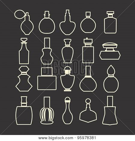 Vector Isolated Silhouette, Cosmetics  Perfume Bottles