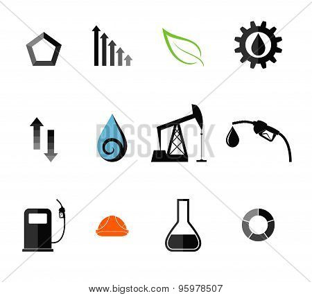 Oil industry. Icon set