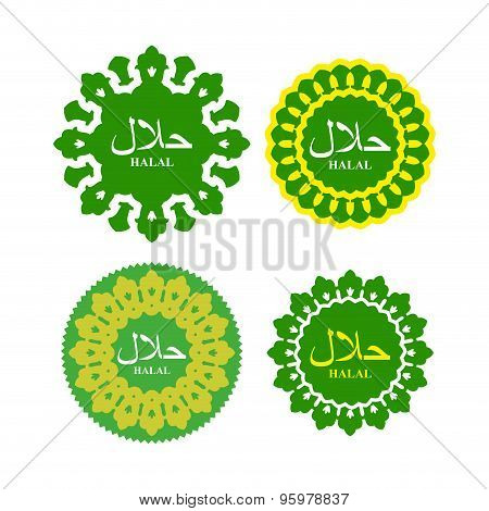 Halal Logo Or Seal For Products. National Islamic Arabic Element. Vector Illustration. Text In Arabi
