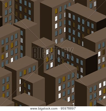 Night City Seamless Pattern. Background Of City Buildings. Vector Illustration