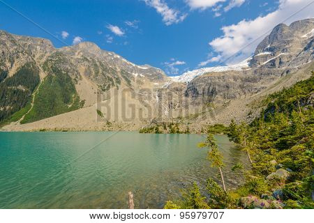 Majestic mountain lake in Canada. Upper Joffre Lake Trail View.