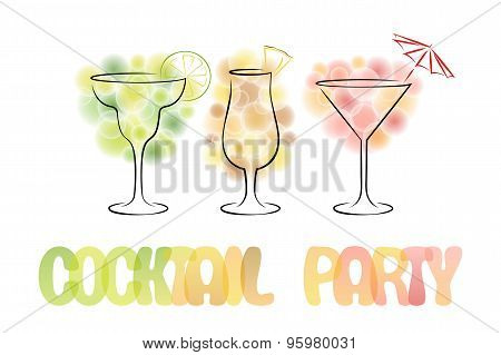 Colorful Design For Cocktail Party Invitation.