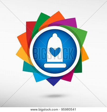 Condom  Icon Color Icon, Vector Illustration