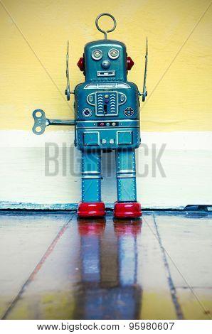freez robot on wooden floor