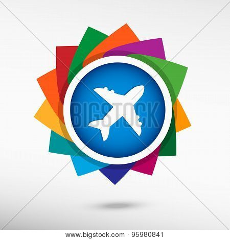 Airplane Color Icon, Vector Illustration