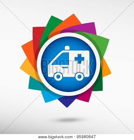 Ambulance Color Icon, Vector Illustration