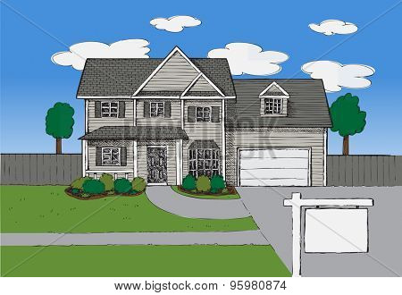 Hand drawn Real estate house background