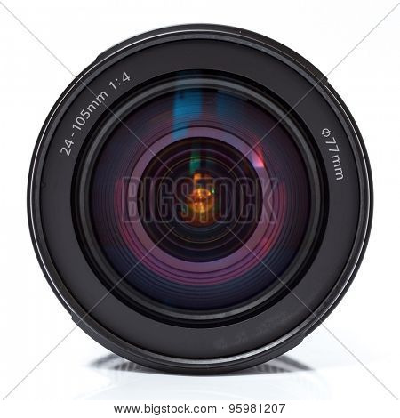 Camera lens with refllection. Close up photo