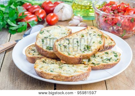 Crostini With Basil, Parsley, Garlic And Cheese