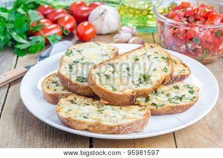 Crostini With Basil, Parsley, Garlic And Cheese