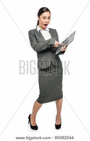 Surprised Startled Asian Woman In Business Suit