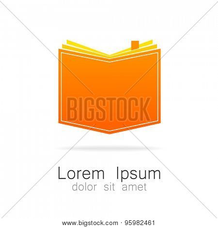 The book - a symbol of knowledge. Logo for educational institutions, libraries, schools, colleges, universities, bookstores.