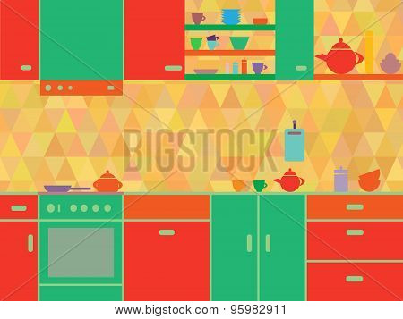 Colorful kitchen interior