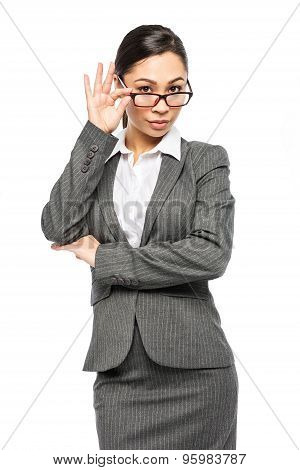 Woman In Business Suit Wearing Glasses