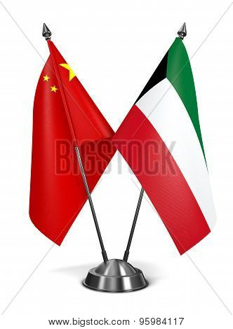 China and Kuwait - Miniature Flags.