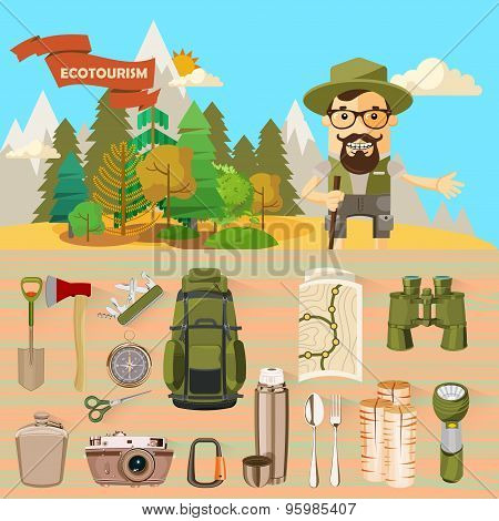 Poster with theme of Hiking and camping