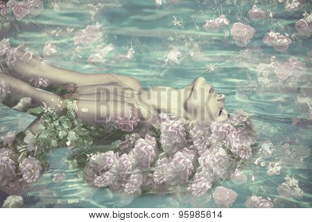 beautiful water fairy with flowers, composite photo