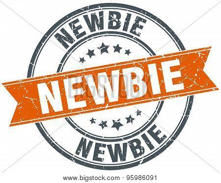 Newbie Round Orange Grungy Vintage Isolated Stamp