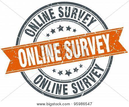 Online Survey Round Orange Grungy Vintage Isolated Stamp