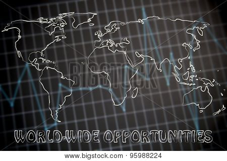 Global Business: World Map On Stats Background
