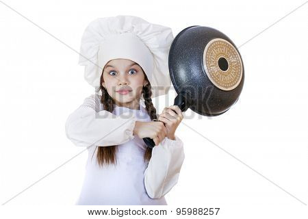 cooking and people concept - smiling little girl in cook hat with frying pan