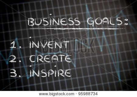 Business Goals On Stats Background