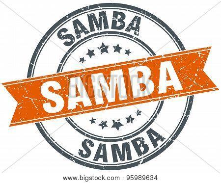Samba Round Orange Grungy Vintage Isolated Stamp