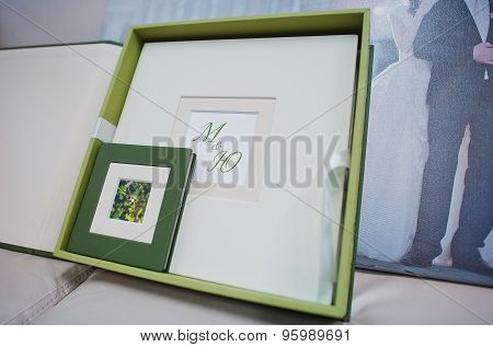 Green And White Leather Wedding Photo Book And Album