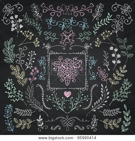 Board Menu Hand Sketched Rustic Floral Doodle Branches