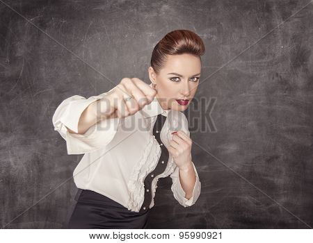 Teacher Woman Beating With Her Fists
