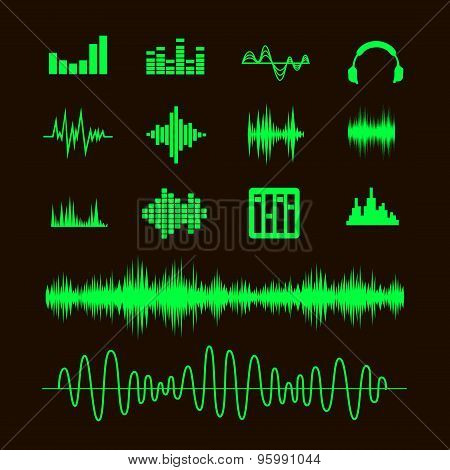 Sound waveforms. Sound waves and musical pulse icons