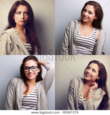 Collage (collecion) Of Beautiful Young Woman With Different Emotions On The Fun Face