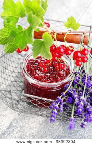 homemade redcurrant jam with lavender - goods in jar