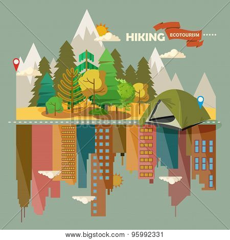 Summer landscapes with forest and city
