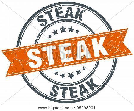 Steak Round Orange Grungy Vintage Isolated Stamp