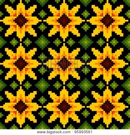 Ethnic Geometric Ornament. Pattrn Sunflower Background