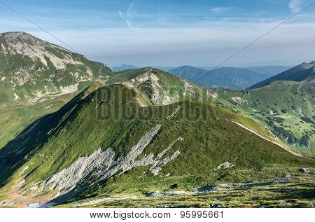 Way Through Summer Mountains Under Blue Sky With Clouds