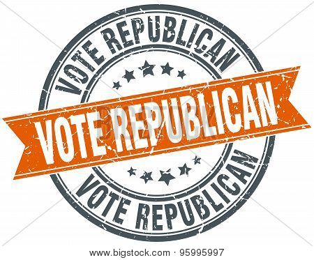 Vote Republican Round Orange Grungy Vintage Isolated Stamp