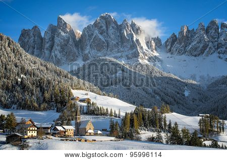 Dolomites Village In Winter