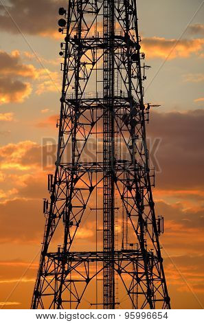 Telecommunication Antenna Silhouette at dusk