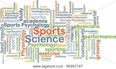 Background concept wordcloud illustration of sports science
