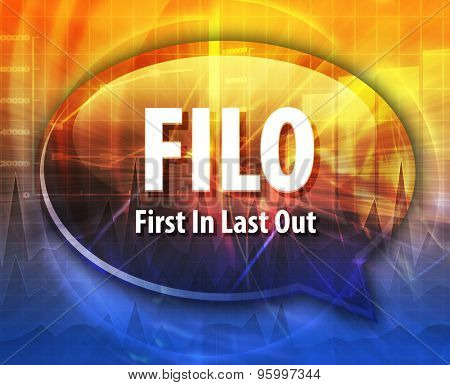 word speech bubble illustration of business acronym term FILO First In Last Out