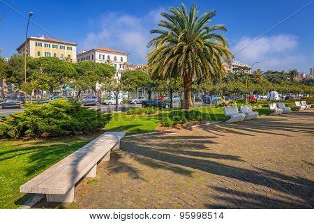 Promenade alley with palm trees in La Spezia, Italy