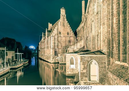 Night view Hospital of St John, Bruges, Belgium.