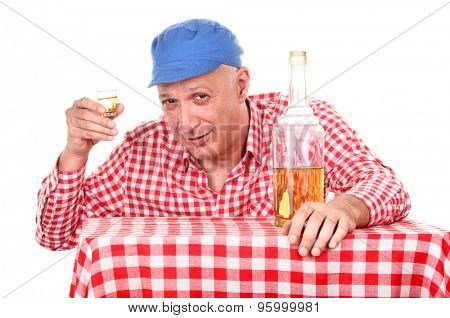Man is drinking brandy