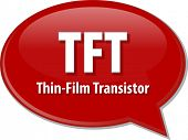 picture of transistors  - Speech bubble illustration of information technology acronym abbreviation term definition TFT Thin Film Transistor - JPG