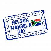 stock photo of nelson mandela  - illustration of a grungy stamp for International Nelson Mandela Day - JPG