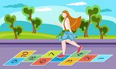 image of playmate  - Little girl on playground playing hopscotch game - JPG