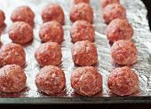 picture of meatball  - Raw beef meatballs are ready to cook  - JPG